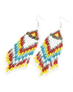Bohemian Beads Tassels Style Dangling Earrings - White