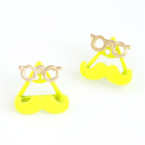Western Style Optical Frames with Mustache Ear Studs - Yellow