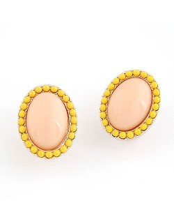 Korean Fashion Yellow Studs Rim Oval Shape Ear Studs - Pink