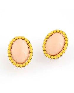 Korean Fashion Yellow Studs Rim Oval Shape Ear Studs - Pink