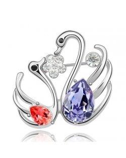 Swan Lake Love Austrian Crystal Brooch - Violet