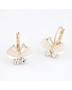 Elegant Artificial Diamonds Embeded Butterfly Pendant Earrings - Golden White