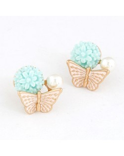 Sweet Butterfly Perched Floral Bud Ear Studs - Blue