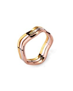 Ripple Design Rose Gold and Platinum Plated Combo Ring