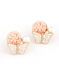 Sweet Butterfly Perched Floral Bud Ear Studs - Pink