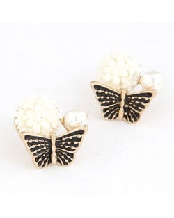 Sweet Butterfly Perched Floral Bud Ear Studs - Black