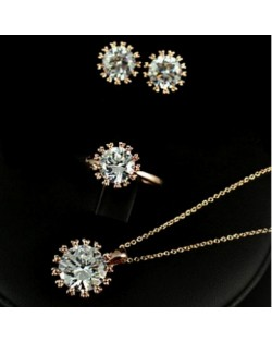 Zirconia Inlaid Snowflake Design Rose Gold Necklace Earrings and Ring Set
