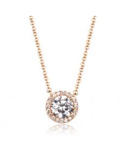 Korean Fashion Gorgeous Zirconia Inlaid Snake Chain Short Rose Gold Necklace