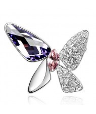 Gorgeous Butterfly Dream Austrian Crystal Alloy Platinum Plating Brooch - Tanzanite