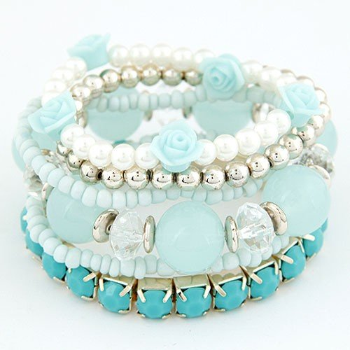 Six-layer Sweet Flowers and Candy Color Beading Combo Bracelet - Blue