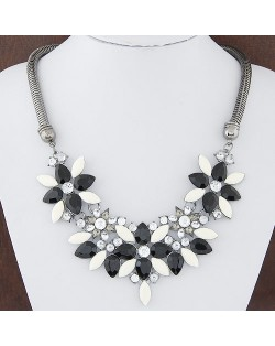 Summer Fashion Rhinestones Gems Floral Combo Snake Chain Costume Necklace - Black