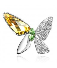 Gorgeous Butterfly Dream Austrian Crystal Alloy Platinum Plating Brooch - Gloden Yellow