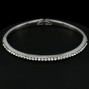 Transparent Austrian Crystal Platinum Plated Thin Bangle