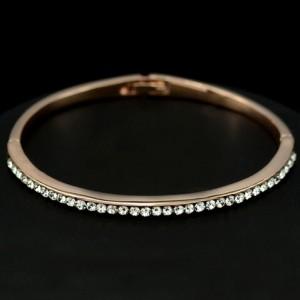 Transparent Austrian Crystal 18K Rose Gold Thin Bangle