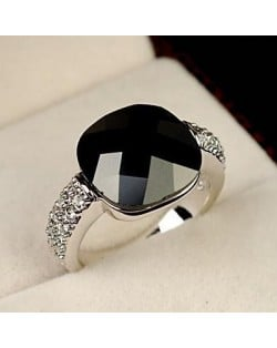 Square Black Crystal Inlaid Platinum Plated Ring