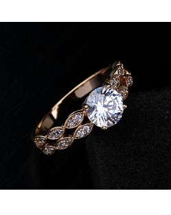 Cubic Zirconia All-over Wheat Ears Design Four Claw Rose Gold Ring