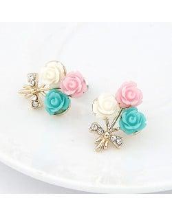 Korean Fashion Colorful Seashell Flowers Ear Studs
