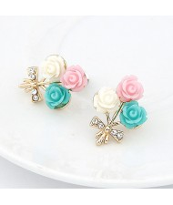 Korean Fashion Colorful Seashell Flowers Ear Studs