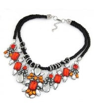 Vintage Court Rhinestones Floral Combo Weaving Rope Necklace - Red