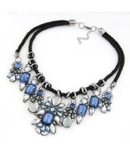 Vintage Court Rhinestones Floral Combo Weaving Rope Necklace - Blue