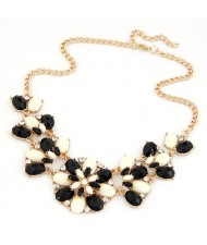 Bohemian Style Gems Mixed Floral Design Costume Necklace - Black and White