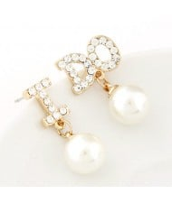 Korean Fashion Czech Rhinestone Embellished I Do Pearl Earrings
