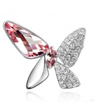 Gorgeous Butterfly Dream Austrian Crystal Alloy Platinum Plating Brooch - Pink