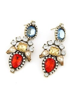 Rhinestone Embellished Floral Combo Pattern Dangling Earrings - Red