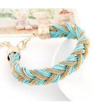 Rope and Metallic Threads Weaving Style Bracelet - Blue