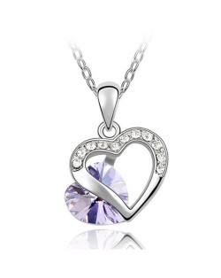 Mutual Hearts Austrian Crystal Platinum Plating Alloy Necklace - Purple
