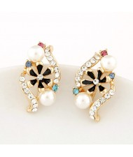 Korean Fashion Czech Rhinestone Embellished with Oil-spot Glazed Inlaid Spiral Design Earrings - Black