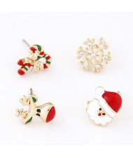 Christmas Santa Claus Theme Earrings Four Pieces Combo