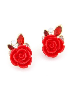 Charming Red Rose Ear Studs