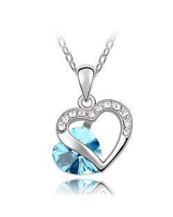 Mutual Hearts Austrian Crystal Platinum Plating Alloy Necklace - Anquamarine