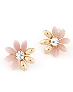 Korean Fashion Golden Leaves Sun Flower Ear Studs - Pink
