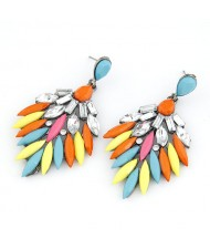 Rhinestone Embedded Dense Leaves Design Bohemian Ear Studs - Colorful