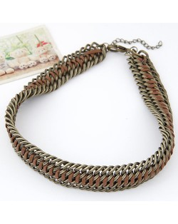 Threads and Metallic Weaving Style Chunky Necklace