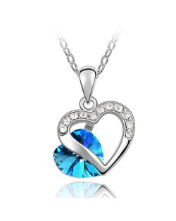 Mutual Hearts Austrian Crystal Platinum Plating Alloy Necklace - Light Blue