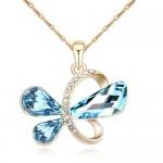 Golden Symbolic Butterfly Pendant Austrian Crystal Necklace - Blue