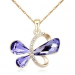 Golden Symbolic Butterfly Pendant Austrian Crystal Necklace - Purple