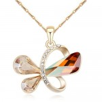 Golden Symbolic Butterfly Pendant Austrian Crystal Necklace - Champagne