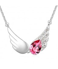 Delicate Austrian Crystal Embellished Angel Wings Necklace - Pink