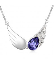 Delicate Austrian Crystal Embellished Angel Wings Necklace - Grape