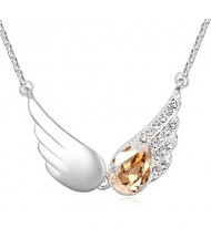 Delicate Austrian Crystal Embellished Angel Wings Necklace - Champagne