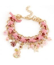 Cute Korean Fashion Guitar and Flowers Pendants Design Bracelet - Pink