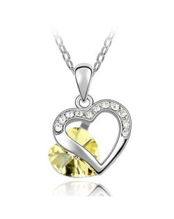 Mutual Hearts Austrian Crystal Platinum Plating Alloy Necklace - Yellow