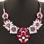 Gem Style Jointed Floral Pattern Costume Necklace - Rose