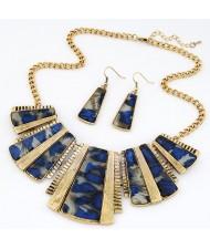 Leopard Prints Geometry Modelling Earrings Necklace Set - Blue