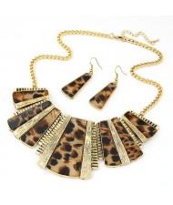 Leopard Prints Geometry Modelling Earrings Necklace Set - Brown