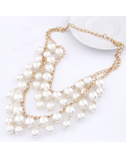 Luxurious Pearl Cluster Dual-layer Fashion Necklace